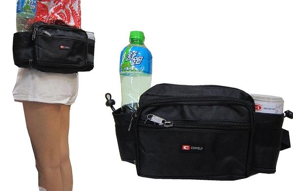 ~雪黛屋~COMELY 腰包中容量雙水瓶腰包二層主袋+外袋共三層工具包隨身運動腰包防水尼龍C0135