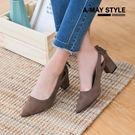 尖頭鞋-復古絨面側縷空朵結跟鞋【XSUV5578】優雅氣質款修飾尖頭設計