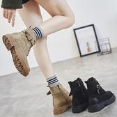 韓版百搭學生chic平底小短靴單靴復古英倫風馬丁靴女