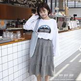 女生裙子夏季原宿風半身裙bf韓國學生中長款學院風ulzzang寬鬆潮 可可鞋櫃