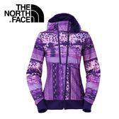 【The North Face 女 多功能兜帽外套 石榴紫印花】CU68/連帽外套