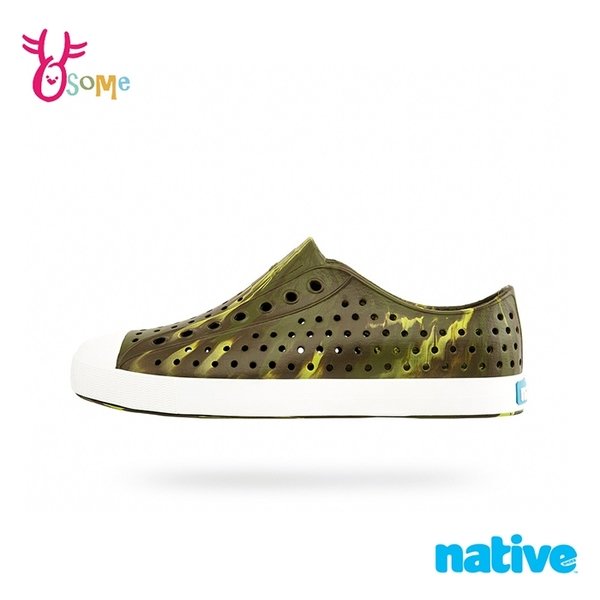 native水鞋 男鞋 JEFFERSON MARBLED 奶油頭 洞洞鞋 休閒鞋 懶人鞋 透氣防水 M9447#墨綠◆奧森
