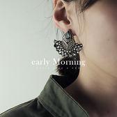 ✡歐美版✡ early Morning - 扇形 花紋鋯石耳環 歐美個性 印度風 尾牙喜宴【GC113】