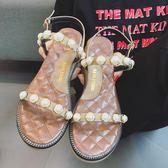 古典杏/34號 珍珠羅馬坡跟沙灘涼鞋 女平底鞋