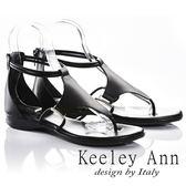 ★2018春夏★Keeley Ann簡約美感~質感十字後拉鍊全真皮T字夾腳涼鞋(黑色)