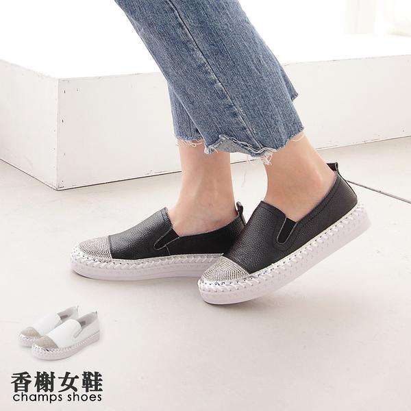 真皮鞋。真皮水鑽縫線厚底休閒鞋 香榭女鞋