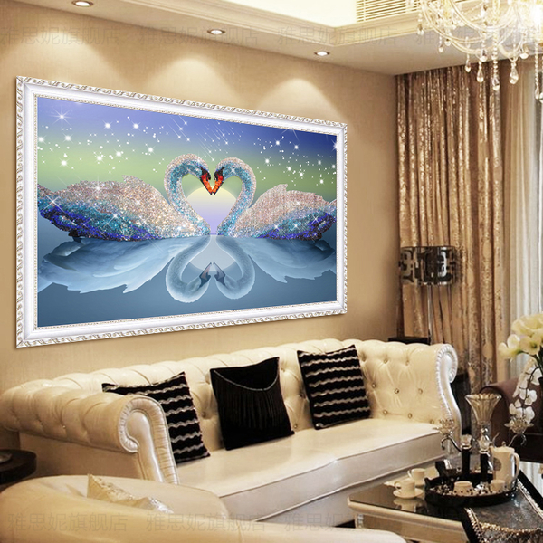 鑽石畫 鑽石畫水晶滿鑽新款客廳5D心心相印天鵝點貼磚小件家用十字繡【快速出貨】
