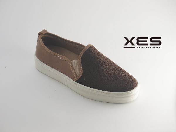 XES 拼皮時尚休閒鞋 樂福鞋 女款 咖啡色