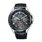 CITIZEN 星辰 廣告款紳士品味GPS衛星對時皮帶腕錶-黑/41mm CC9015-03E