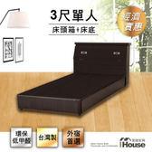 IHouse-經濟型房間組二件(床頭箱+床底)-單人3尺胡桃