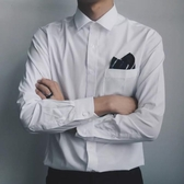 cuibuju/19AW韓版簡約休閑純白打底衫商務職業純棉長袖襯衫正裝男 阿宅便利店