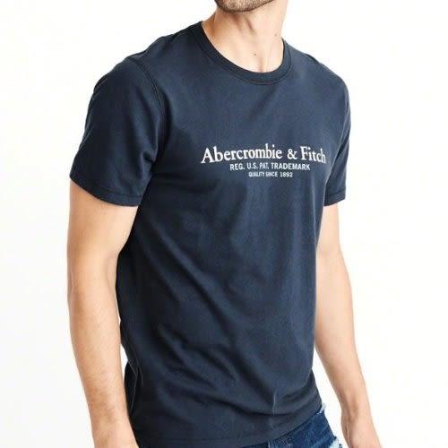 A & F 男深藍短袖T恤