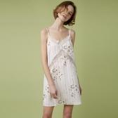 PJM睡裙女夏薄款性感V領吊帶睡衣甜美蕾絲鏤空印花舒適打底裙夏季