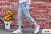新款夏季女兒童褲子休閒七八分褲薄牛仔白馬褲