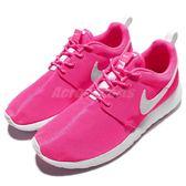 【六折特賣】Nike 休閒慢跑鞋 Rosherun GS 粉紅 白 銀勾勾 運動鞋 流行 大童鞋 女鞋【PUMP306】 599729-611