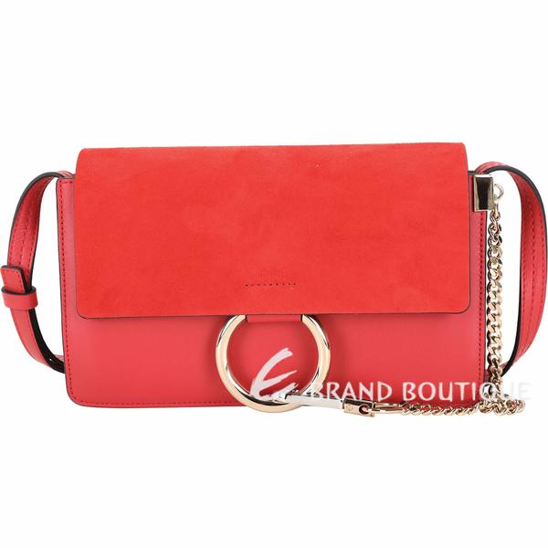 CHLOE Faye 小款 麂皮拼接小牛皮肩背/斜背包(寶石紅) 1740050-54
