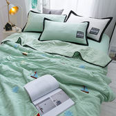 韓式可水洗毛巾繡夏涼被(含枕套)-綠色帆船【BUNNY LIFE邦妮生活館】