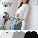 Queen Shop【01037663】小高領素面百搭T 三色售*現+預*