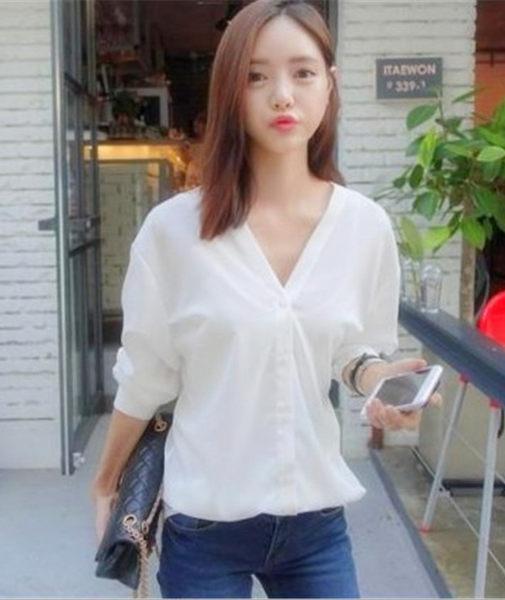 韓版 V領 百搭 春夏 長袖 純色 寬鬆 襯衫 棉質 基本款
