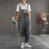 夏季新款牛仔背帶褲 寬鬆九分連體褲 文藝復古印花 連身褲