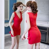 中大尺碼夜店洋裝 2019夏季新款時尚潮性感韓版修身顯瘦v領低胸包臀連身裙 nm21572【VIKI菈菈】