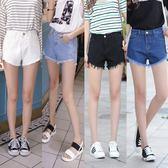 牛仔短褲女前短後長毛邊不規則闊腿白色高腰百搭熱褲 巴黎时尚生活