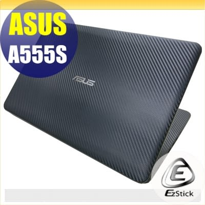 【Ezstick】ASUS A555S 燦坤機 系列 Carbon黑色立體紋機身貼 (含上蓋貼、鍵盤週圍貼) DIY包膜