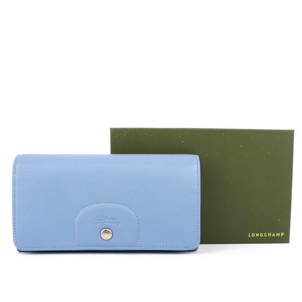 【LONGCHAMP】小羊皮對折長夾(迷霧藍) 3146737A30