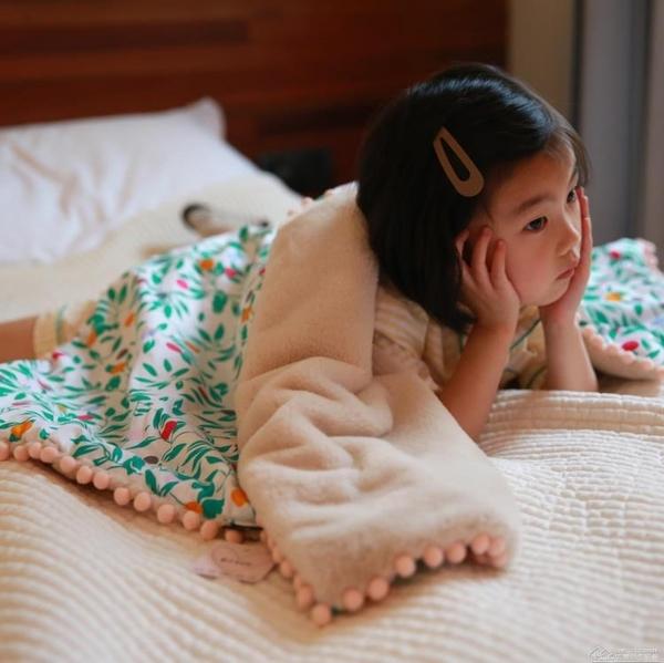 兒童單人「全棉加絨」嬰兒毛毯床單蓋毯雙層加厚寶寶伴手禮盒  【快速出貨】YYJ