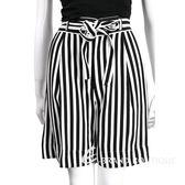 PHILOSOPHY 黑白條紋綁帶及膝寬褲 1620152-37