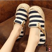 布鞋圓頭一腳蹬懶人鞋條紋民族風學生鞋舒適鞋【印象閣樓】