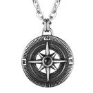 《QBOX 》FASHION 飾品【CHE788】精緻個性歐美仿舊指南針設計鑄造鈦鋼墬子項鍊/掛飾
