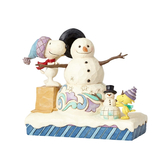 Enesco Peanuts SNOOPY 史努比與糊塗塌客雪人塑像_EN91756