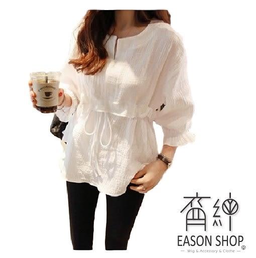 EASON SHOP(GU9328)韓版棉麻薄款短版腰間繫帶收腰V領荷葉邊七分袖襯衫女上衣服鬆顯瘦內搭衫修身