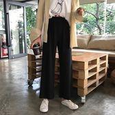 初女裝正韓寬鬆黑色闊腿褲墜感直筒褲高腰九分褲休閒褲學生褲子