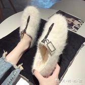 毛毛鞋女冬外穿新款秋季時尚網紅同款冬季豆豆鞋加絨冬天鞋子 晴天時尚館