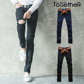 ToGetheR+【TQ3738】個性定番款抓破設計休閒牛仔長褲(二色)