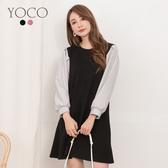 東京著衣【YOCO】青春氣息直條紋泡泡袖拼接設計洋裝-S.M.L(191211)