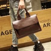 原創新款潮包時尚休閒男包男士復古單肩包商務公文包英倫風手提包
