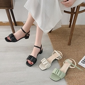 網紅粗跟涼鞋女夏季新款仙女風百褶一字帶休閒百搭高跟鞋 - 風尚3C