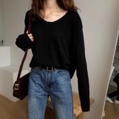 2020新款女裝秋裝韓版網紅長袖針織衫上衣純色V領套頭毛衣女寬鬆