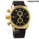 elegantsis / ELJT48S-OB08LC / 狙擊鏡設計 計時碼錶 硬派軍事風 防水100米 牛皮手錶 黑x金框x深褐 43mm