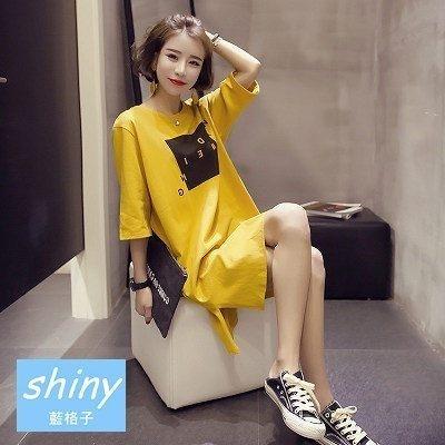 【V8069】shiny藍格子-戀愛百分.字母圓領中長袖側開叉連身裙