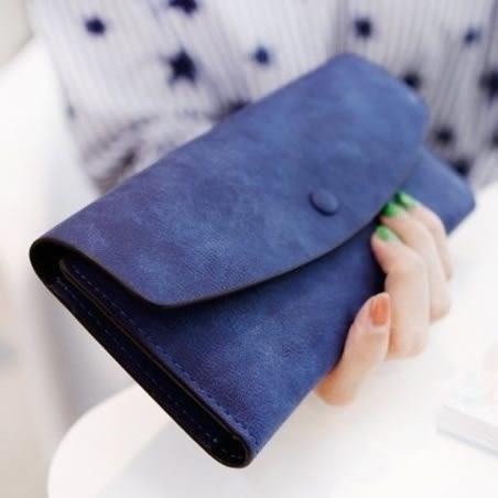 長夾皮夾韓版復古圓弧純色磨砂皮抽卡錢包零錢包非中夾短夾手機包
