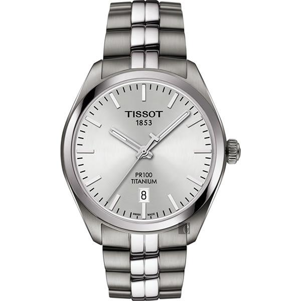 TISSOT 天梭 PR100 鈦金屬 經典石英手錶-銀/39mm T1014104403100