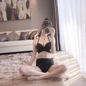七夕節禮物-純黑色比基尼三件套泳衣女顯瘦性感游泳衣遮肚網紗保守溫泉泳裝【優惠兩天】