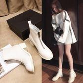 粗跟靴 guidi靴子春秋新款pl1倒靴前後拉鍊馬丁靴白色內增高短靴女 唯伊時尚
