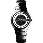 Relax Time RT57 優雅鏤空陶瓷腕錶-黑x金時標/37mm RT-57-10
