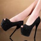 高跟鞋恨天高16cm超高跟性感夜店女單鞋歐美水鑽細跟防水臺圓頭女鞋婚鞋 衣間迷你屋
