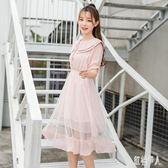 書瑞短袖連身裙2019夏季新款韓版女裝雙層娃娃領洋裝甜美學院風網紗裙 PA4609『紅袖伊人』